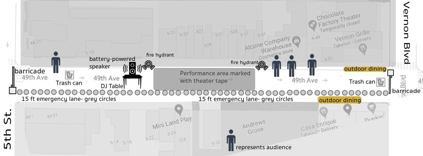 Site Map for event on 49th Ave